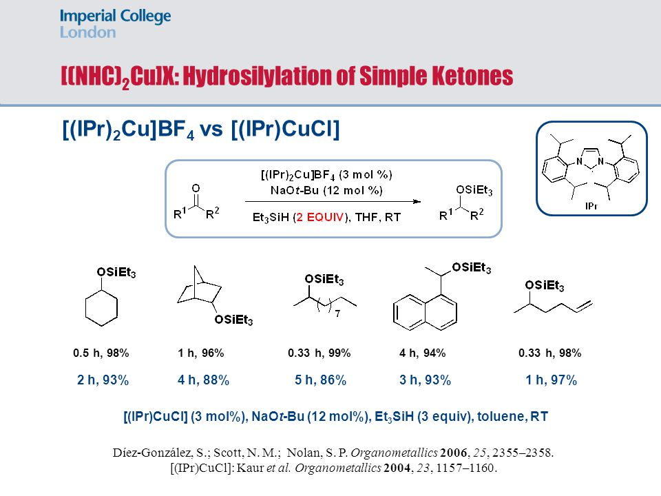 [(NHC)2Cu]X: Hydrosilylation of Simple Ketones